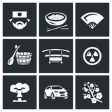Vector Set of Japan Icons. Japanese, Food, Fan, Bath, Sword, Radiation, Explosion, Car, Sakura. Stock Image