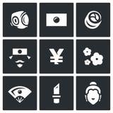 Vector Set of Japan Icons. Sport, National Flag, Traditional Food, Japanese, Yen, Sakura, Geisha, Yakuza, Religion. Royalty Free Stock Photography