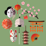 Vector set of japanese flat icons Royalty Free Stock Photography
