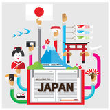 Vector set Japanese sushi Mountains flat illustration icon arm and h Royalty Free Stock Photography