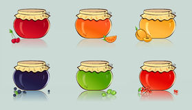 Vector set of jars with berry and fruit jam. Varicolored  jars of fruit and berry jam. Vector illustration Royalty Free Stock Image