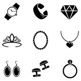 Vector Set of Jewellery Icons. Vector Set of 9 Black Jewellery Icons vector illustration
