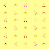 Vector set of jewelry, ring and earring, on yellow background Stock Photos