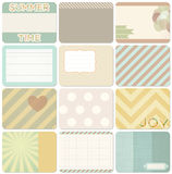 Vector set of journal cards. Vector set of journal cards for scrapbook and design, 3x4 size. Summer collection, part 2 stock illustration