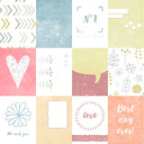Vector set of journaling cards for scrapbook and design, with floral pattern, doodle, heart. Stock Photos
