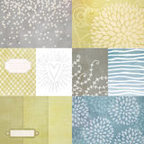 Vector set of journaling cards for scrapbook and design with floral pattern, doodle, heart, tags. Stock Images