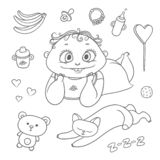 Vector set joyful child and sleeping kitten. Baby bottle with water or milk, other food, hearts and sweets. Flat chubby. Funny curly kid with big eyes and cat stock illustration