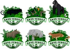 Vector set of Jungle rainforest Emblems with elephant, puma cougar, panther, gorilla, wild hog babirusa and buttrflies. Illustration Royalty Free Stock Photos