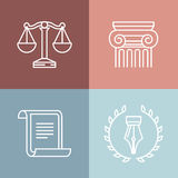 Vector set of juridical and legal logos Royalty Free Stock Image
