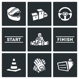 Vector Set of Karting Icons. Helmet, Pedestal, Steering wheel, Start, Kart, Driver, Finish, Delimiter, Gloves, Screen. Stock Photo