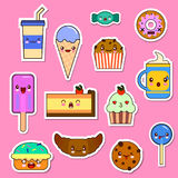 Vector set of Kawaii food characters. sweets and candies emoticon stickers Stock Photography