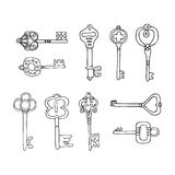 Vector Set of Keys Icons. Modern and Antique Keys. Types of Keys Stock Images