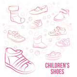Vector Set of kid's shoes painted lines Stock Photography
