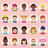 Set of kids faces, avatars, children heads different nationality in flat style vector illustration