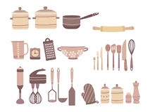 Vector set of kitchen accessories. Collection of culinary accessories in cartoon style. Knives and Castrulums. royalty free illustration