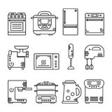 Vector set of kitchen equipment. Vector set of kitchen appliances and electronic equipment Stock Photo