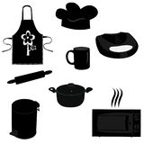 Vector set of kitchen items in black stock photos