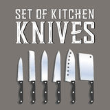 Vector set of kitchen knives. Flat icon set Vector Illustration