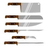 Vector set of kitchen knives. Kitchen utensils. Knife. Isolated on white background. Stock Images