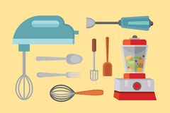 Vector Set Kitchen Utensils. cooking tools flat style. cook equipment isolated objects Stock Images