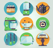 Vector set of kitchenware icon. Cooking illustration in flat style. Kitchen collection graphic icons. Royalty Free Stock Photos