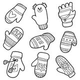 Vector set of knitted mittens with animals and geometric pattern Stock Photo