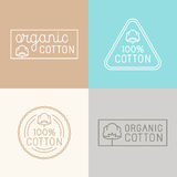 Vector set of labels, badges and design elements for organic cot. Vector set of labels, badges and design elements for organic and natural cotton tags for stock illustration
