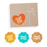 Vector set of labels and badges for hand-made products Stock Images