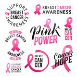 Vector set of labels Breast Cancer Awareness. October is Cancer Awareness Month. Calligraphy Poster Designs. Royalty Free Stock Image