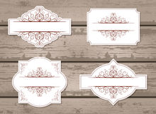 Vector set of labels with decorative elements. Royalty Free Stock Photos