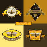 Vector set of labels extract wax moth Stock Photography