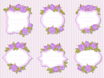 Vector set of labels with hand drawn roses and leaves. In lilac and green colors Stock Photos
