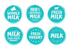 Vector set labels for milk, yogurt. Collection icons. Isolated on white background Stock Photography