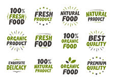 Vector set labels. Organic food tags and elements for meal, restaurant, cafe.  Stock Photos