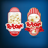 Vector set of labels for popcorn Stock Photos