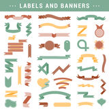 Vector set of labels, stickers and ribbons on a white background Royalty Free Stock Photos