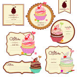 Vector set of labels with sweets, a sticker for Stock Photo