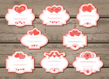 Vector set of labels with Valentine's Day elements. Royalty Free Stock Photo