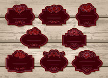 Vector set of labels with Valentine's Day elements. Stock Photography