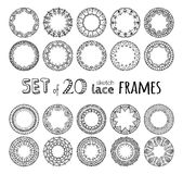 Vector set of 20 lace crochet round frames. Sketch filet crochet patterns. Decorations for scrapbook isolated on white background Royalty Free Stock Photography