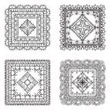 Vector set of lace crochet square ornaments. Royalty Free Stock Photography