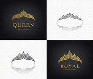 Vector set of lace luxury crown logos. Queen, faminine, jewelry tiara icons. stock illustration