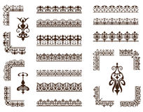 Vector set of lacy ornaments and corners. Lace frame corners and ornaments on white background Royalty Free Stock Photos