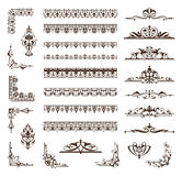 Vector set of lacy ornaments and corners . Royalty Free Stock Photo