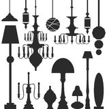 Vector set of lamps and chandeliers Stock Photos