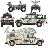 Vector set of land vehicles for travel and hunting in flat design vector illustration