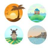 Vector set of landscape illustrations Stock Image