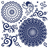 Vector set with large flowers, cupid and scrolls. Royalty Free Stock Images