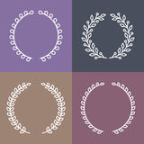 Vector set of laurel wreaths in outline style Stock Image