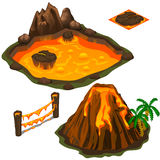 Vector set of lava pool, volcano, fence and cover Royalty Free Stock Images